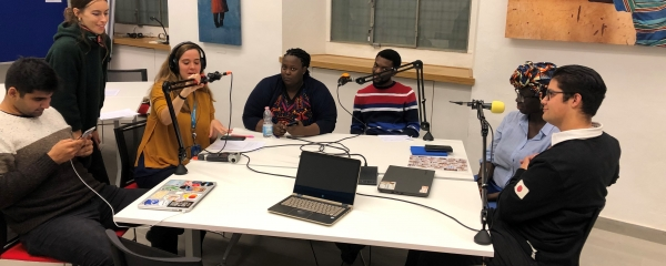 Young Leaders at Leading Minds recording a podcast