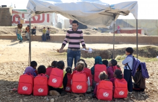 Children at a UNICEF-supported tented school for Syrian refugees in the Bekaa Valley in Lebanon.