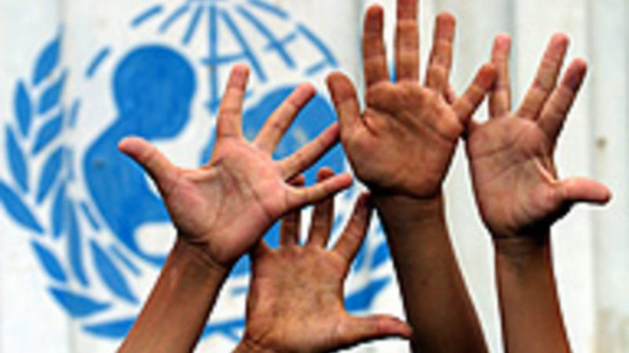 Hands with unicef logo