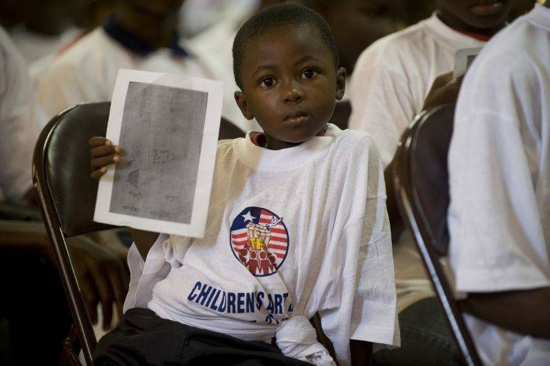 ©Chris Herwig/Liberia/2008 - Child participant in the Liberian Truth and Reconciliation Commission Children's Gallery, Monrovia City Hall in September 2008