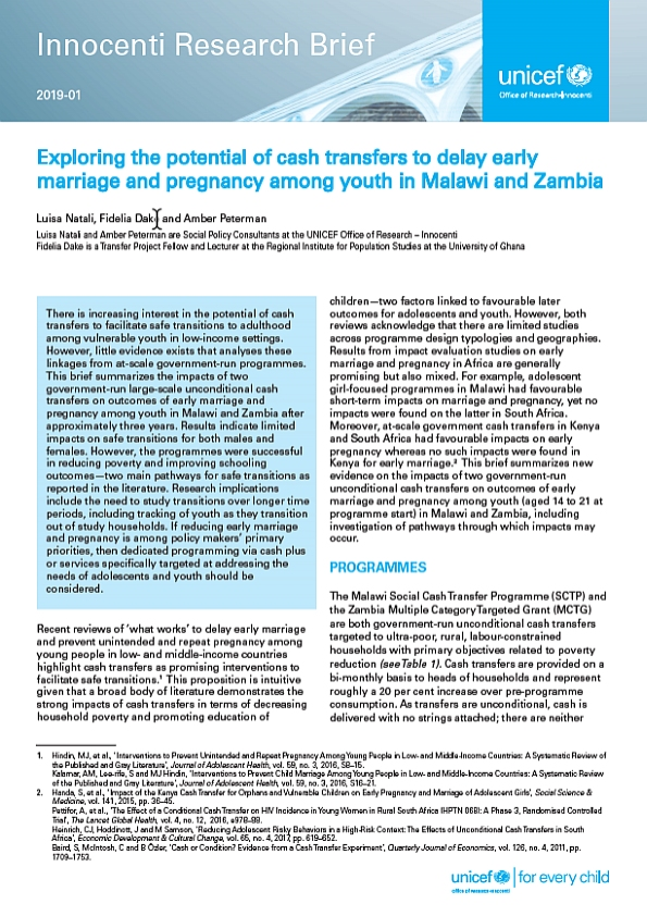 Exploring the potential of cash transfers to delay early marriage and pregnancy among youth in Malawi and Zambia