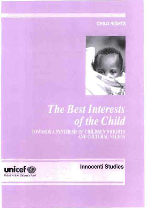 The Best Interests of the Child: Towards a synthesis of children's rights and cultural values