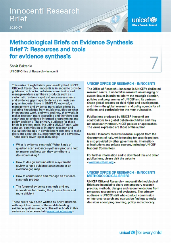 Methodological Briefs on Evidence Synthesis. Brief 7: Resources and tools for evidence synthesis