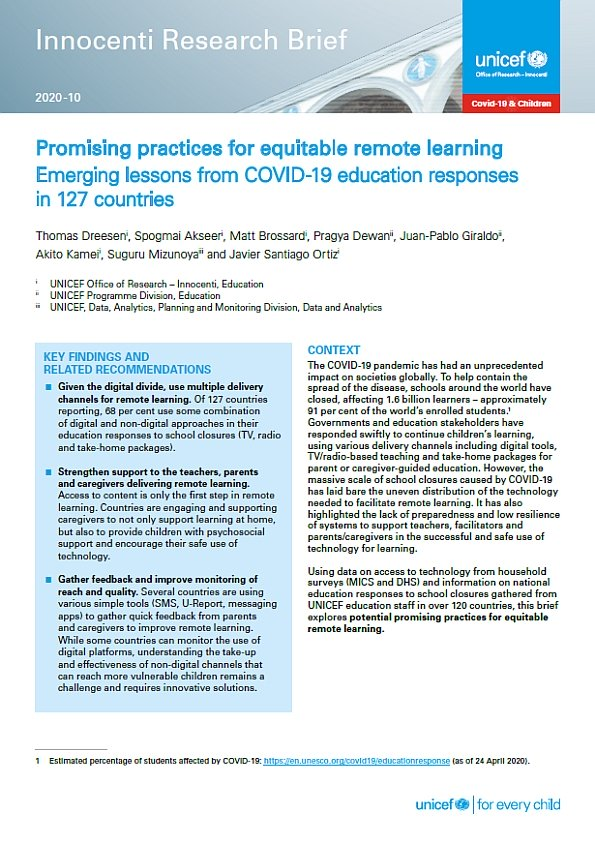Promising Practices for Equitable Remote Learning. Emerging lessons from COVID-19 education responses in 127 countries