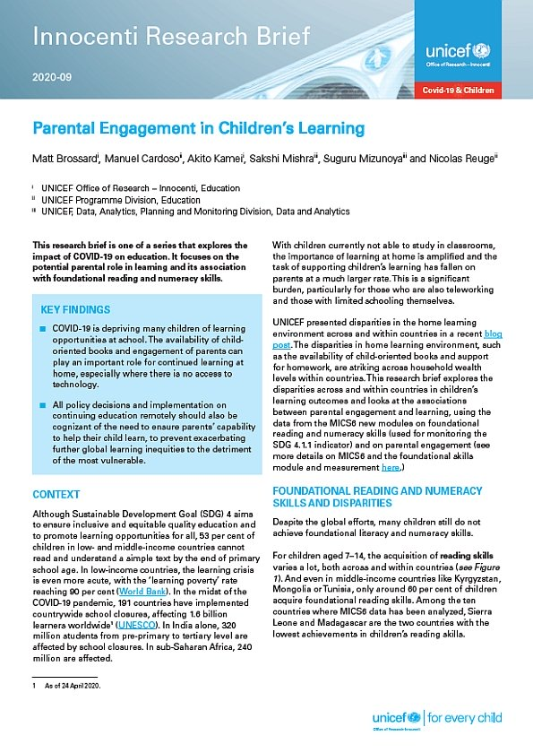 Parental Engagement in Children's Learning: Insights for remote learning response during COVID-19