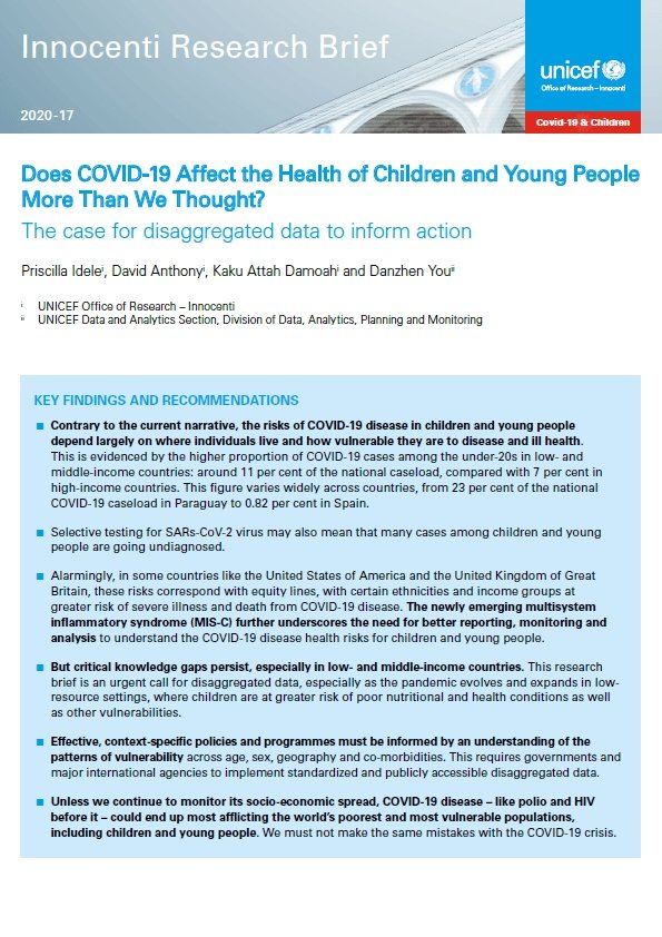Does COVID-19 Affect the Health of Children and Young People More Than We Thought? The case for disaggregated data to inform action