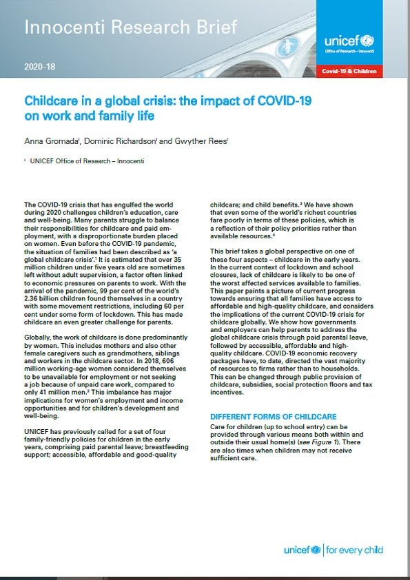 Childcare in a Global Crisis: The Impact of COVID-19 on work and family life