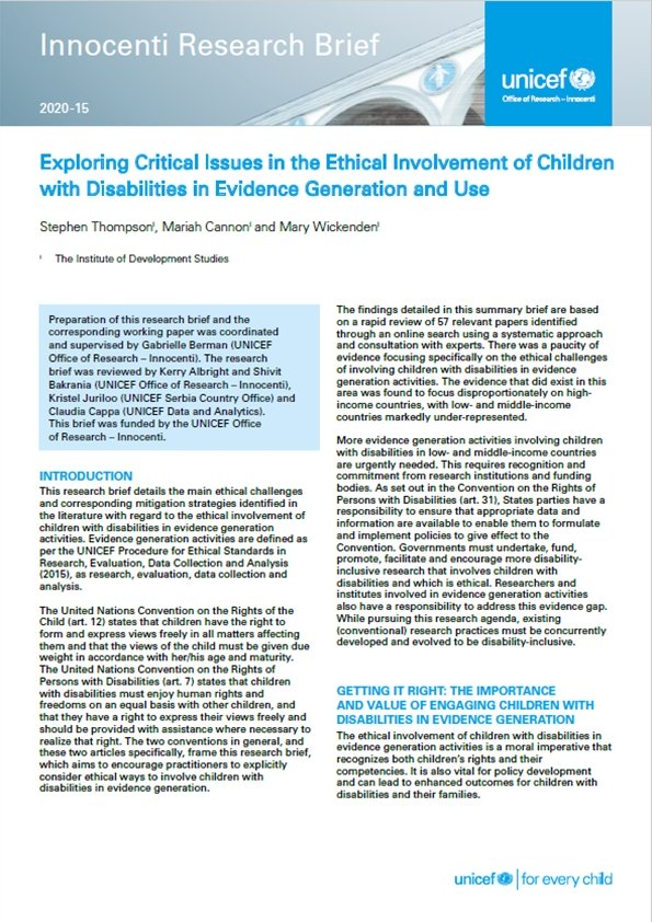 Brief: Exploring Critical Issues in the Ethical Involvement of Children with Disabilities in Evidence Generation and Use
