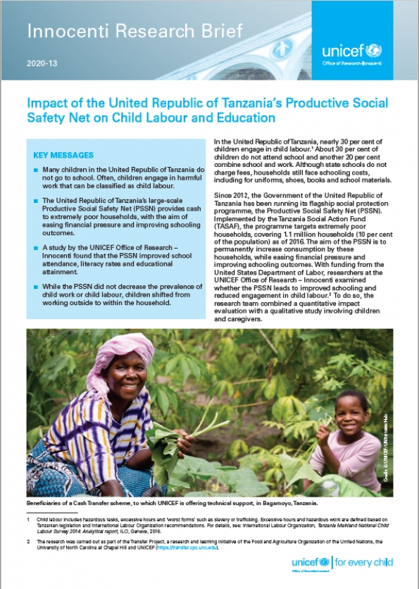 Impact of the United Republic of Tanzania's Productive Social Safety Net on Child Labour and Education