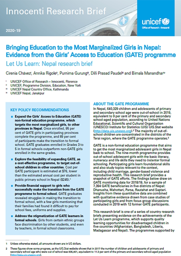 Bringing Education to the Most Marginalized Girls in Nepal: Evidence from the Girls' Access to Education (GATE) programme Let Us Learn: Nepal research brief