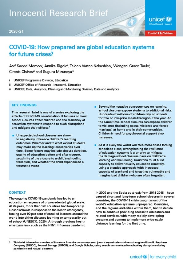 COVID-19: How prepared are global education systems for future crises?