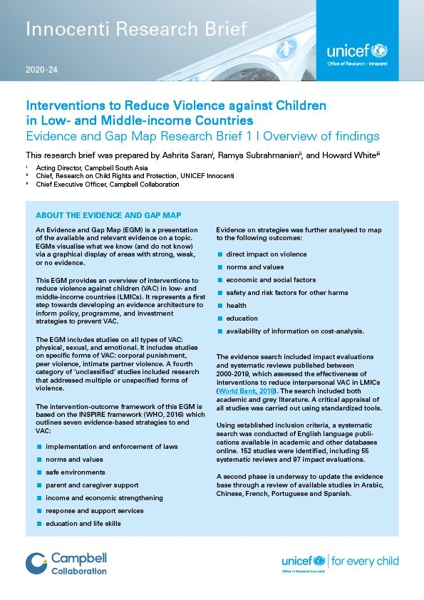 Interventions to Reduce Violence Against Children in Low- and Middle-income Countries: Evidence and Gap Map Research Brief 1 Overview of findings