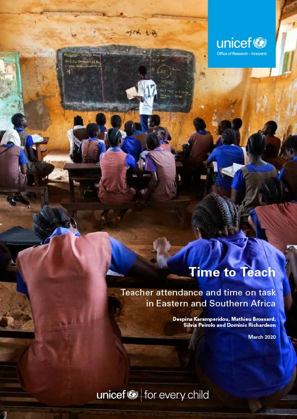 Time to Teach: Teacher attendance and time on task in Eastern and Southern Africa