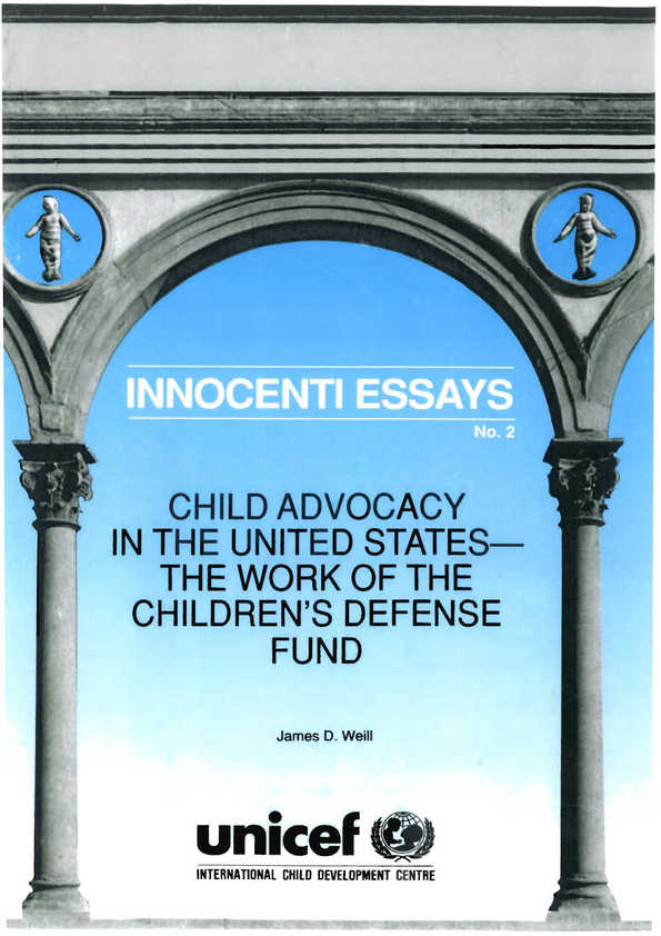 Child Advocacy in the United States: The work of the Children's Defense Fund