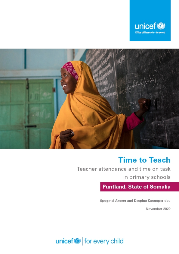 Time to Teach: Teacher attendance and time on task in in primary schools in Puntland, State of Somalia