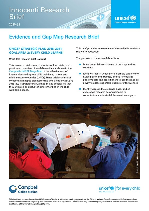 Evidence and Gap Map Research Brief UNICEF Strategic Plan 2018–2021 Goal Area 2: Every child learns