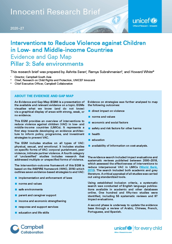Interventions to Reduce Violence against Children in Low- and Middle-income Countries. Pillar 3: Safe environments