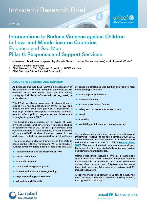 Interventions to Reduce Violence against Children in Low- and Middle-income Countries.Pillar 6: Response and Support Services