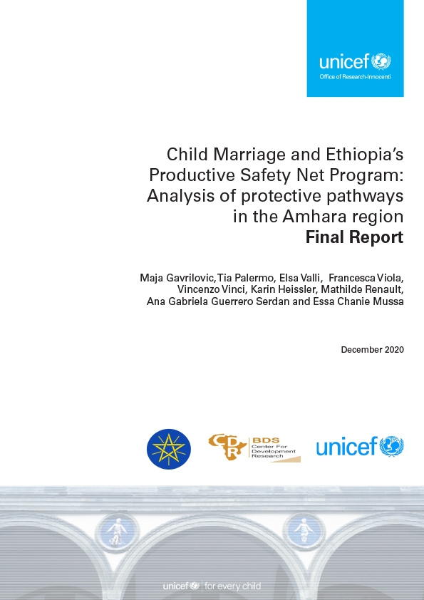 Child Marriage and Ethiopia's Productive Safety Net Program: Analysis of protective pathways in the Amhara region