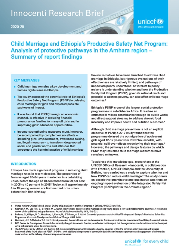 Child Marriage and Ethiopia's Productive Safety Net Program: Analysis of protective pathways in the Amhara region – Summary of report findings