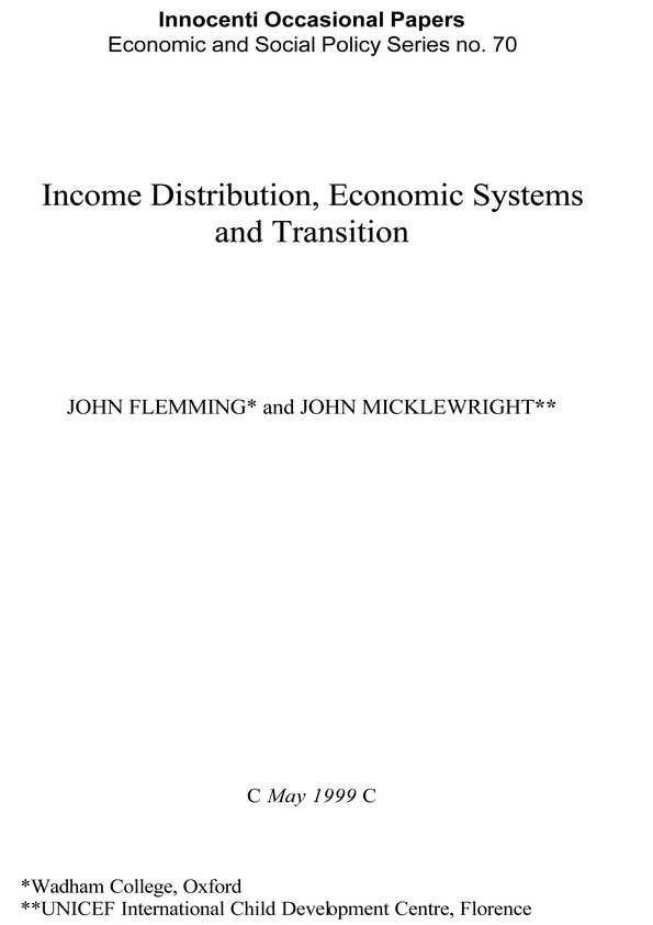 Income Distribution, Economic Systems and Transition