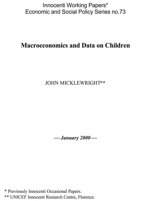 Macroeconomics and Data on Children