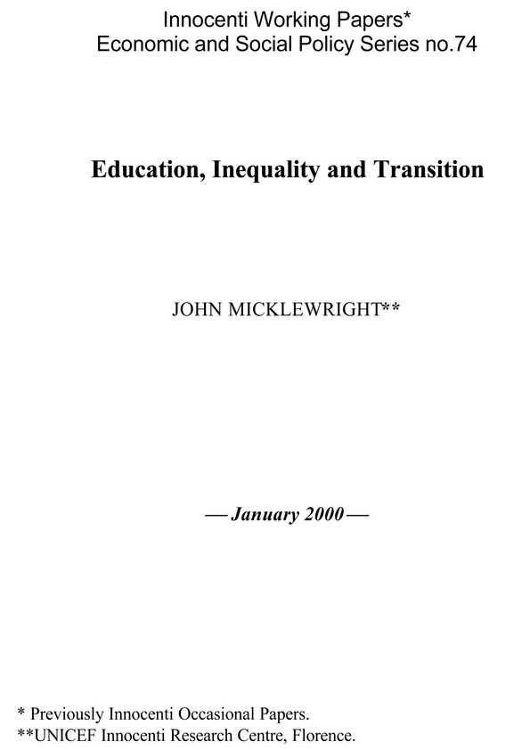 Education, Inequality and Transition