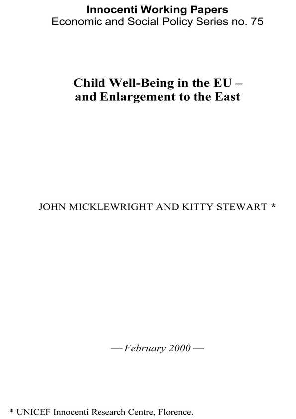 Child Well-Being in the EU and Enlargement to the East
