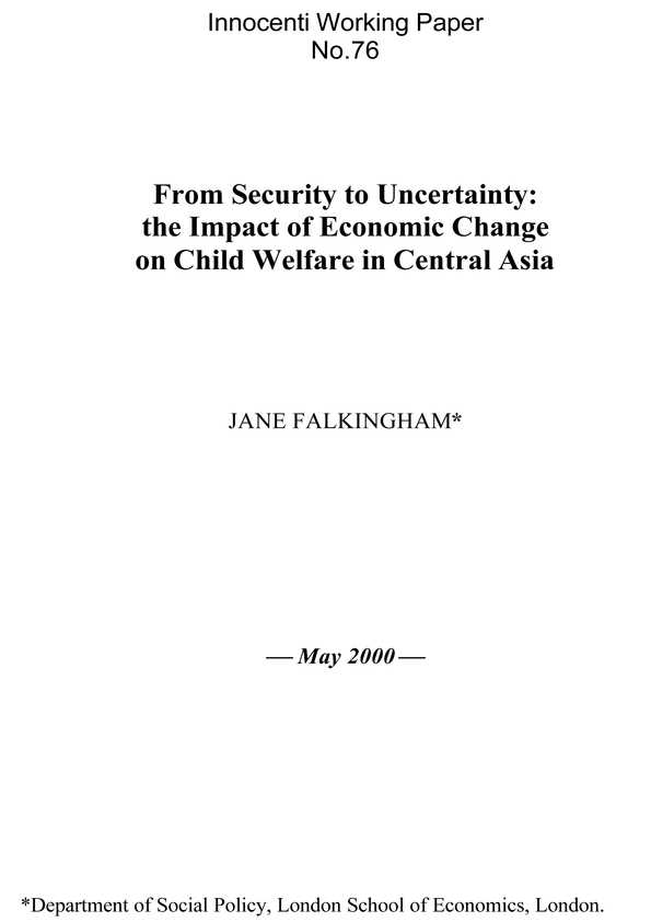 From Security to Uncertainty: The impact of economic change on child welfare in central Asia