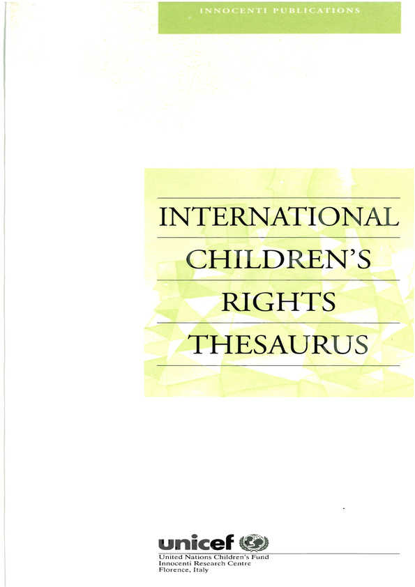 International Children's Rights Thesaurus
