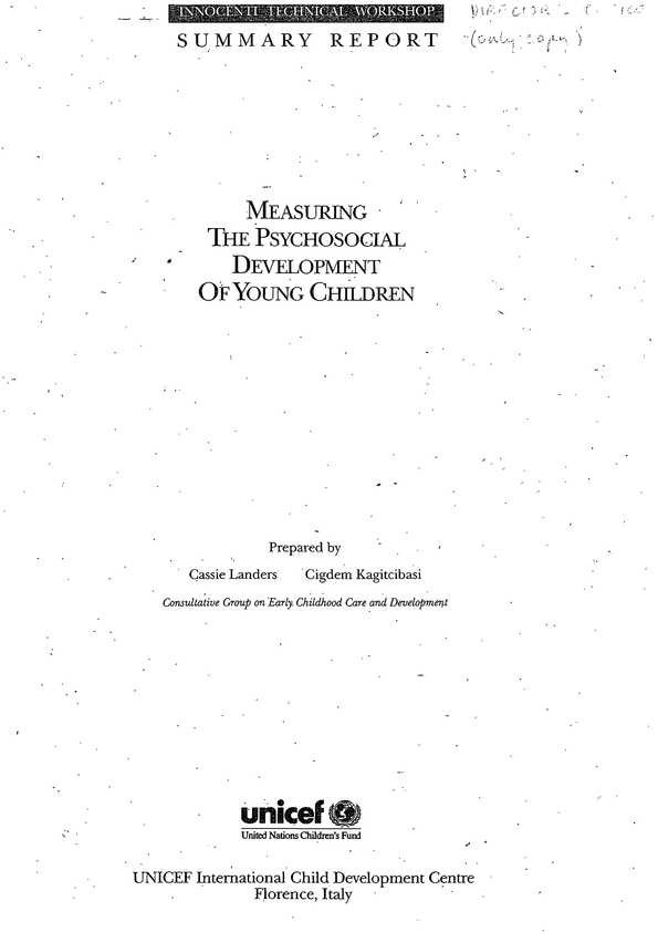 cover Measuring the Psychosocial Development of Young Children. Innocenti Technical Workshop Summary Report, 7-10 May 1990