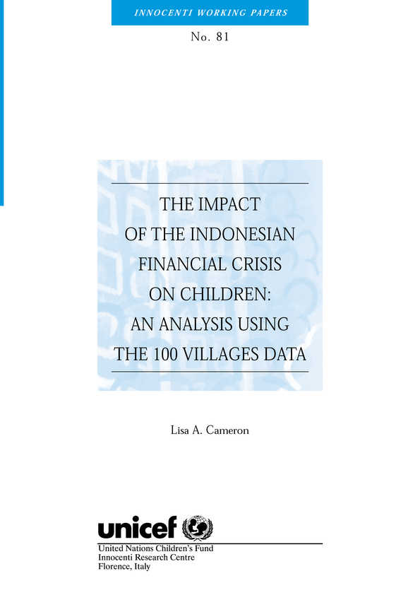The Impact of the Indonesian Financial Crisis on Children: An analysis using the 100 villages data