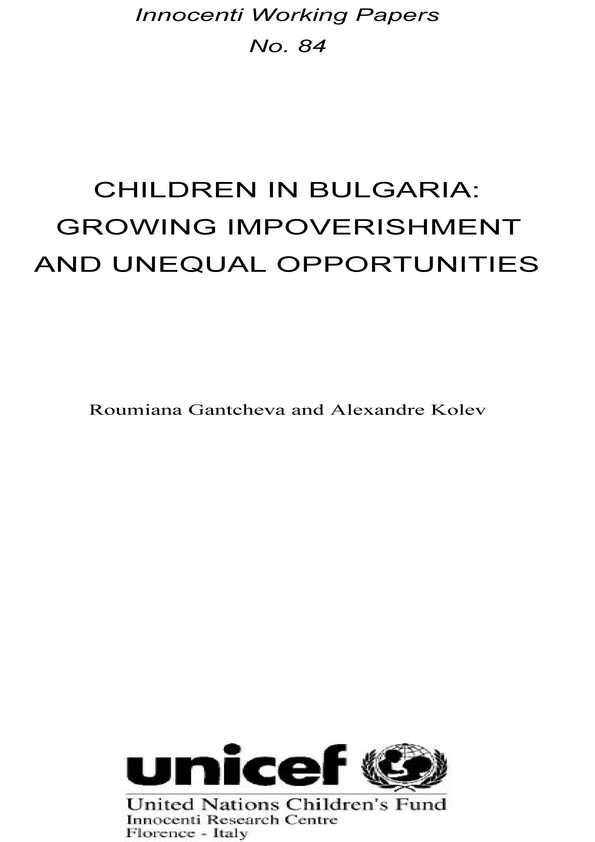 Children in Bulgaria: Growing impoverishment and unequal opportunities