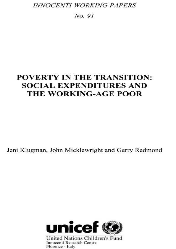 Poverty in the Transition: Social expenditures and the working-age poor