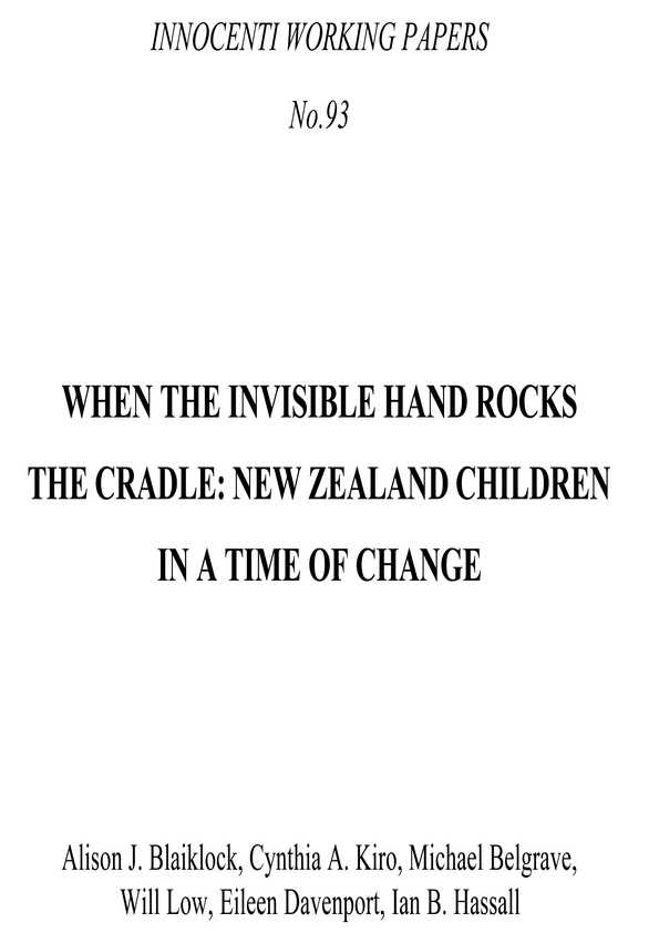 When the Invisible Hand Rocks the Cradle: New Zealand children in a time of change