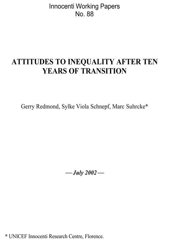 Attitudes to Inequality after Ten Years of Transition