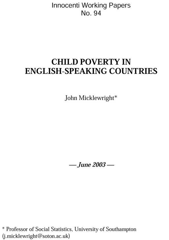 Child Poverty in English-Speaking Countries