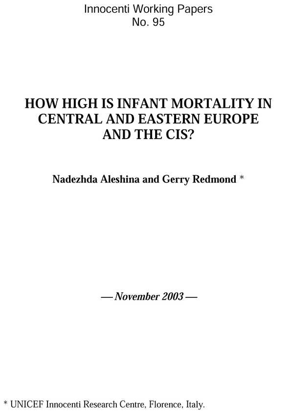 How High is Infant Mortality in Central and Eastern Europe and the CIS?