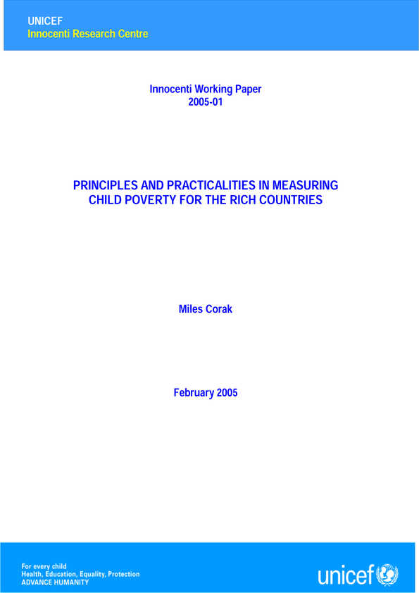 Principles and Practicalities in Measuring Child Poverty for the Rich Countries