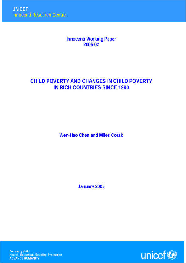 Child Poverty and Changes in Child Poverty in Rich Countries since 1990