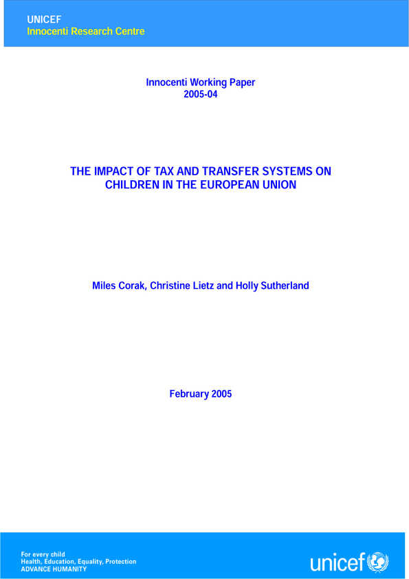 The Impact of Tax and  Transfer Systems on Children in the European Union