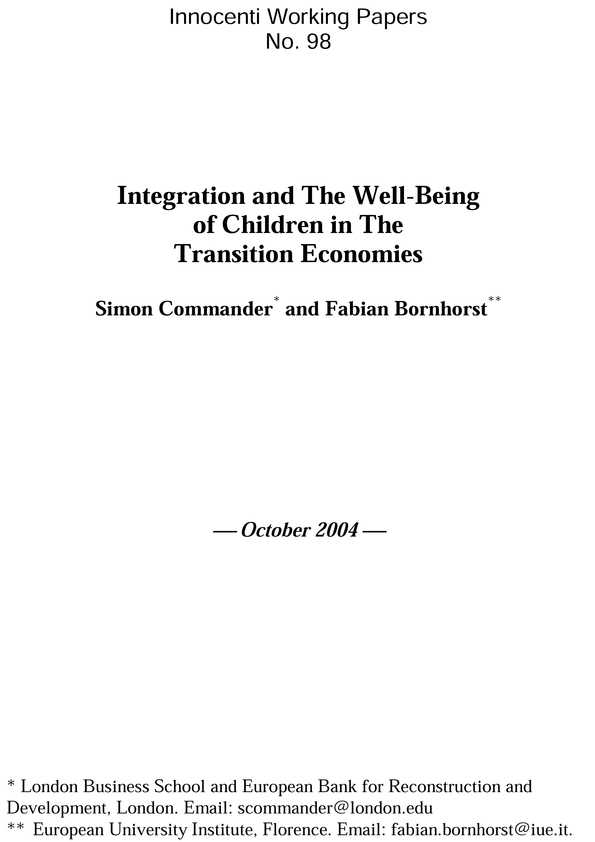Integration and the Well-being of Children in the Transition Economies
