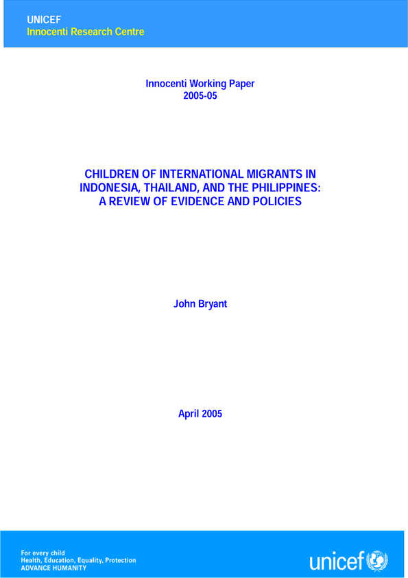 Children of International Migrants in Indonesia, Thailand, and the Philippines: A review of evidence and policies