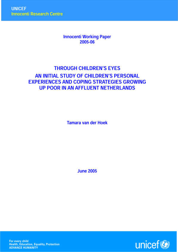 Through Children's Eyes: An initial study of children's personal experiences and coping strategies growing up poor in an affluent Netherlands