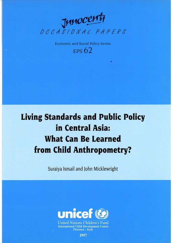 Living Standards and Public Policy in Central Asia: What can be learned from child anthropometry?