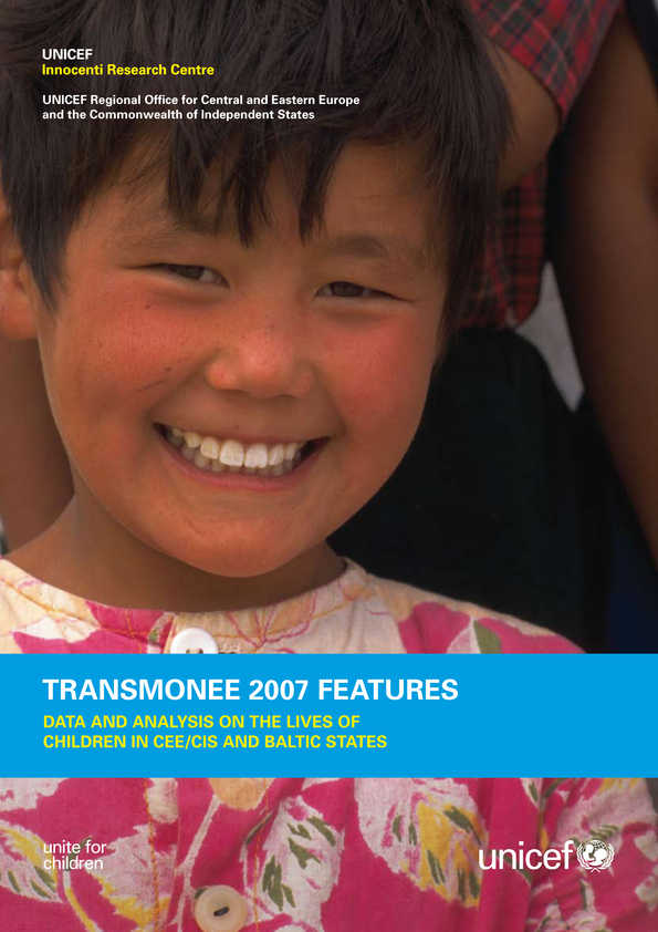 cover TransMONEE 2007 Features: Data and analysis on the lives of children in CEE/CIS and Baltic States