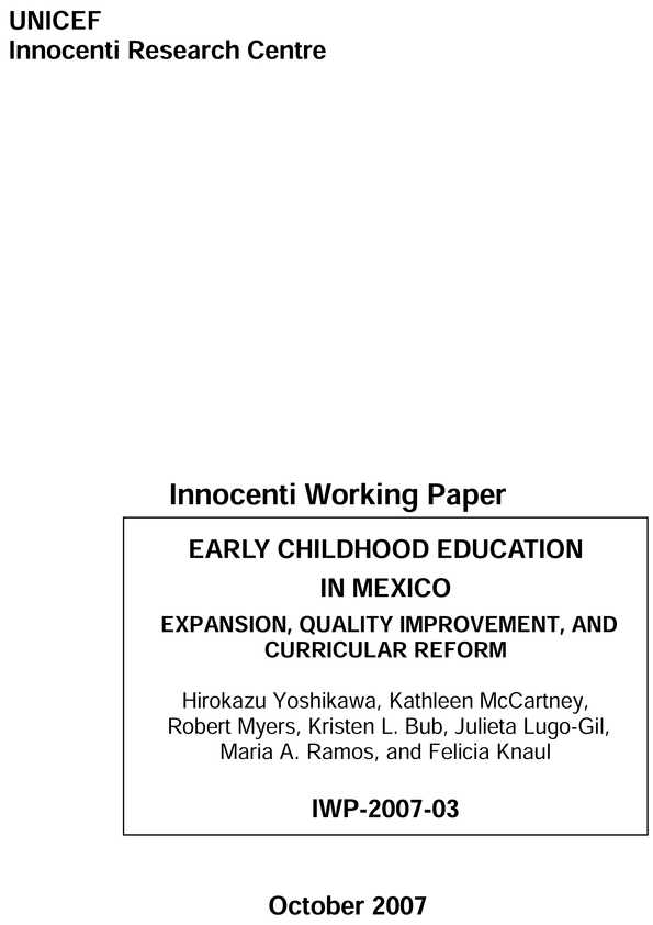 Early Childhood Education in Mexico: Expansion, quality improvement, and curricular reform