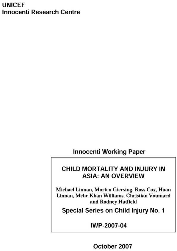 Child Mortality and Injury in Asia: An overview