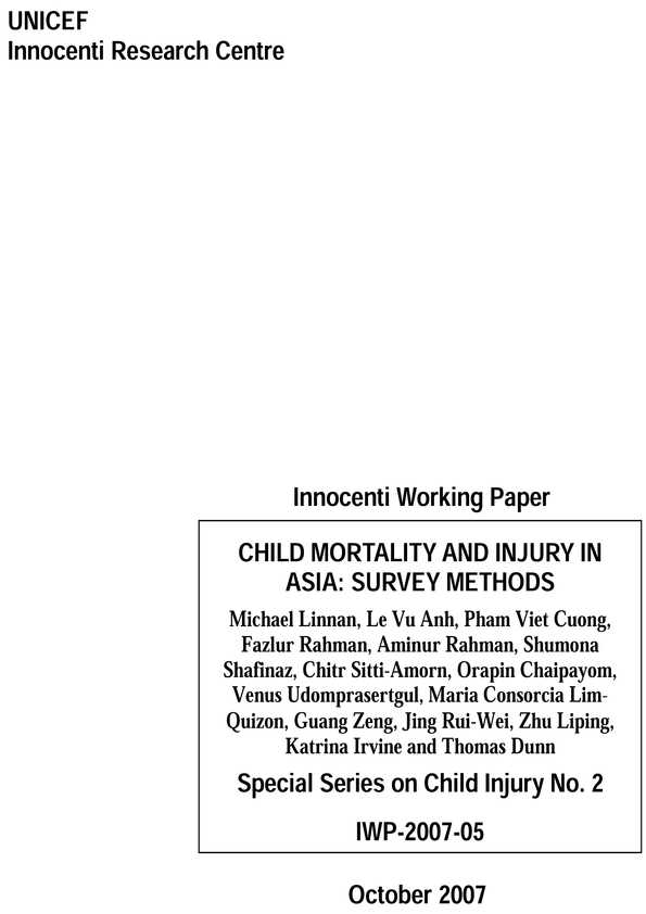 cover Child Mortality and Injury in Asia: Survey methods