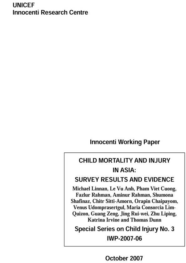 Child Mortality and Injury in Asia: Survey results and evidence